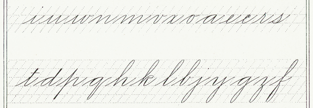 Spencerian Minuscules. Note how the lower 1/3rd of the l is exactly an i. Also see how the five ascender loops in this plate all come down left of the main slant line.