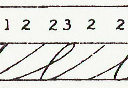 Classic Spencerian minuscule e stroke sequence P2 - reversed P3 - P2. (NSC)