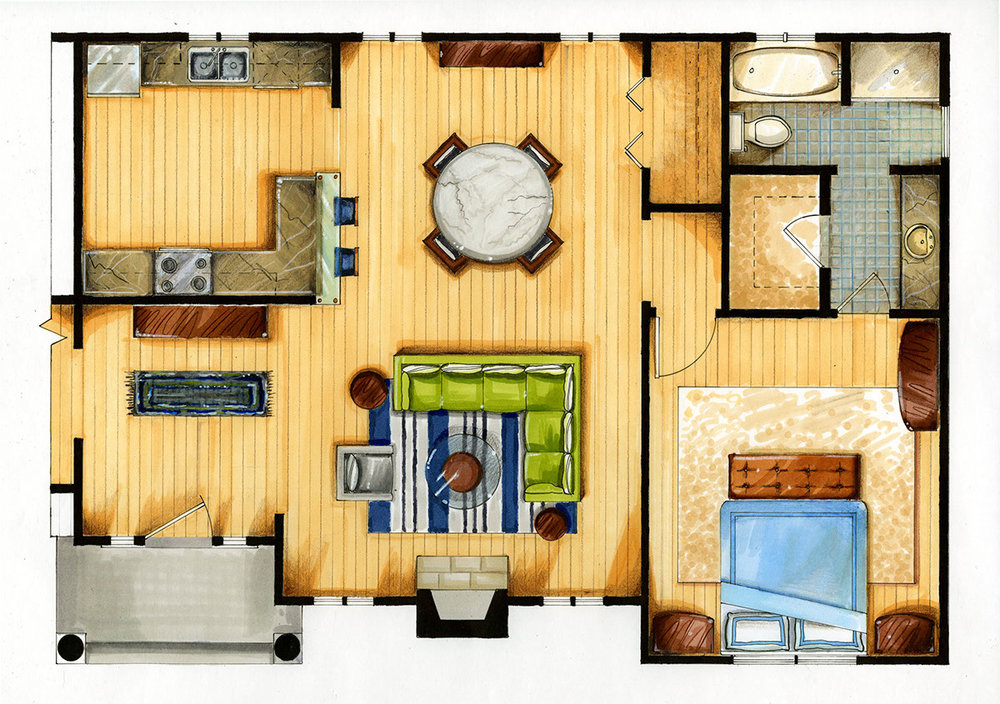 Apartment floor plan (marker and colored pencil rendering)