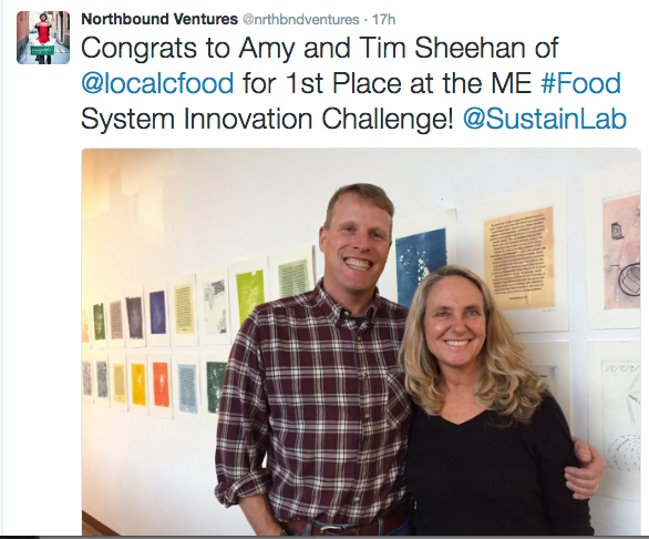 Tim and Amy Sheehan, 1st place winners of the Bowdoin Food Innovation Challenge.