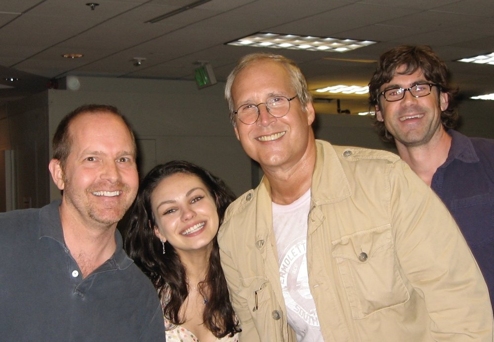 Mike at the  Family Guy  studio with Mila Kunis, Chevy Chase and writer Wellesley Wild. (2006)