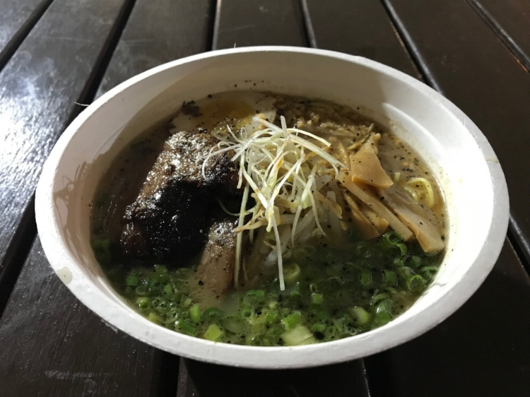 Beefy wild ramen bowl with toasted garlic, bamboo shoot, and scallions. The broth was to die for!