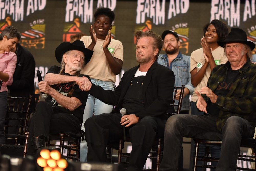 Farm Aid board artists Willie Nelson, John Mellencamp, and Neil Young at the Farm Aid 2018 Press Event. Photo © Brian Bruner / Bruner Photo