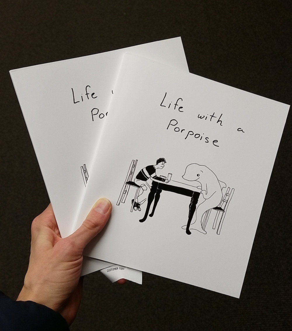 Artist-runner writes and draws with a porpoise, self-publishing the first edition of her first book.