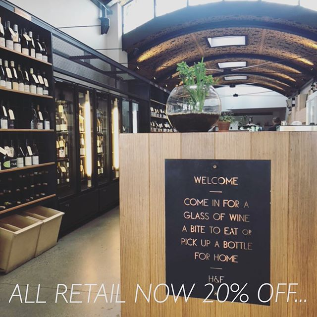 For our final week all retail is now 20% off! Also all drink in wine is at retail prices!  #harryandfrankie #winebar #sale