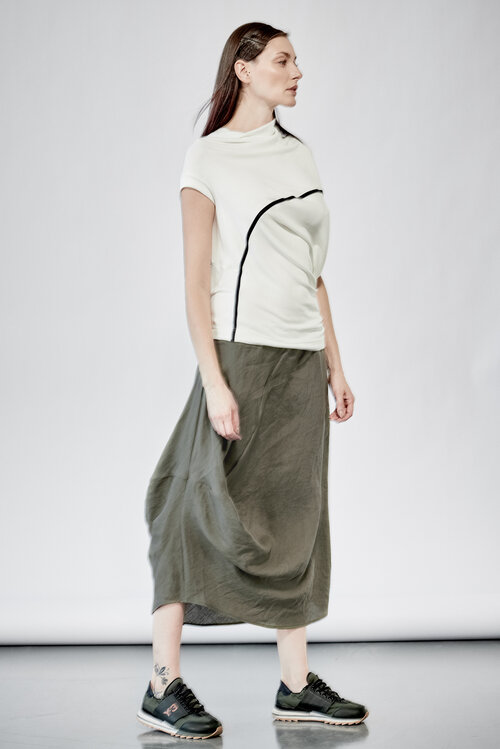 901131c062c15 MILITARY GREEN DRAPE URBAN SKIRT ...