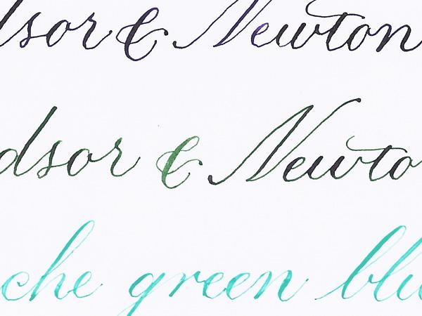 W&N violet and green, Schmincke gouache mix
