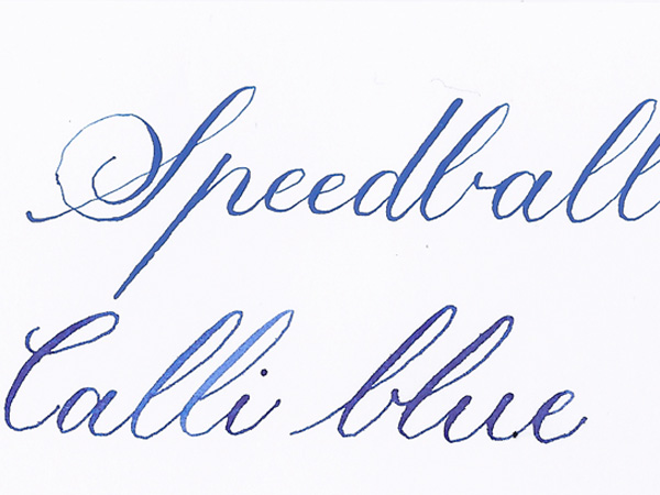 Speedball and Calli blue inks