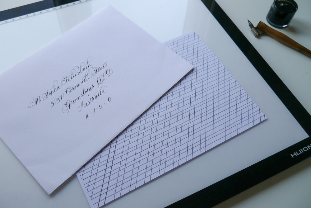 using a lightbox and guidelines to address envelopes in calligraphy