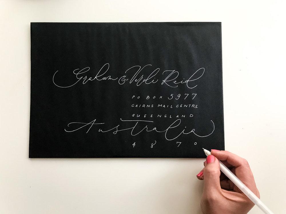 freehand addressed envelopes monoline calligraphy