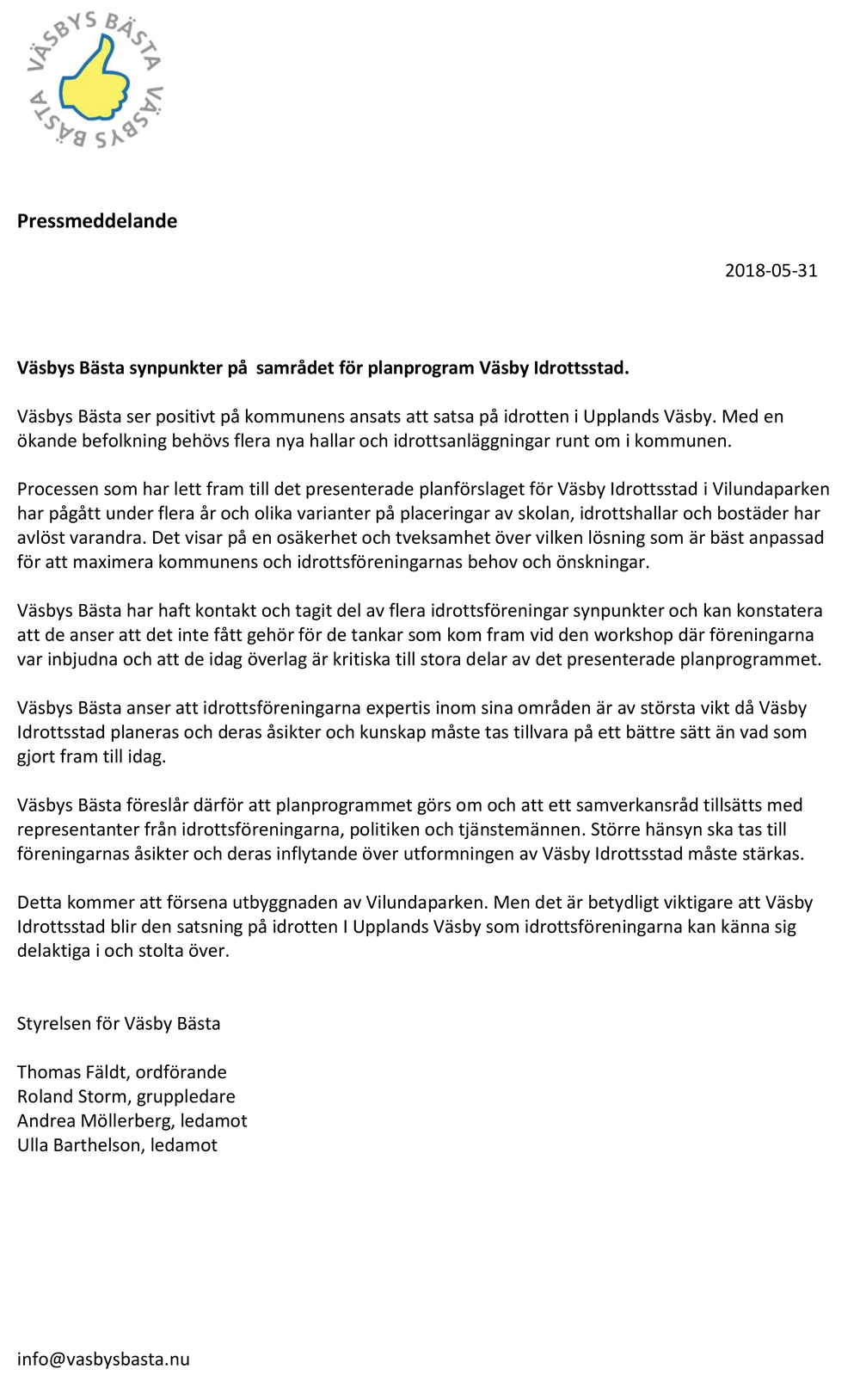 2018-05-31 Pressmeddelande Väsby idrottsstad samrådssvar fran Vasbys Basta kopiera.png