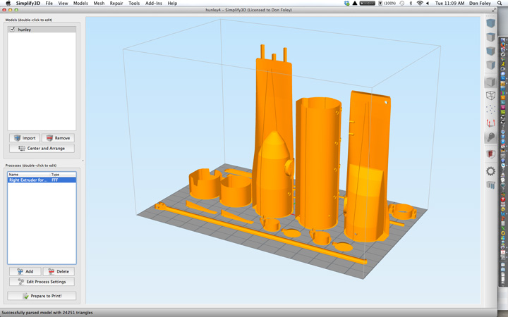 Screen of Simplify 3D with STL file imported