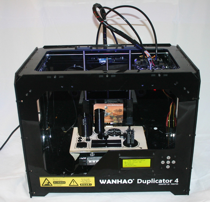 Don's printer, the Wanhao Duplicator 4, here with the Hubble Space Telescope print on the bed