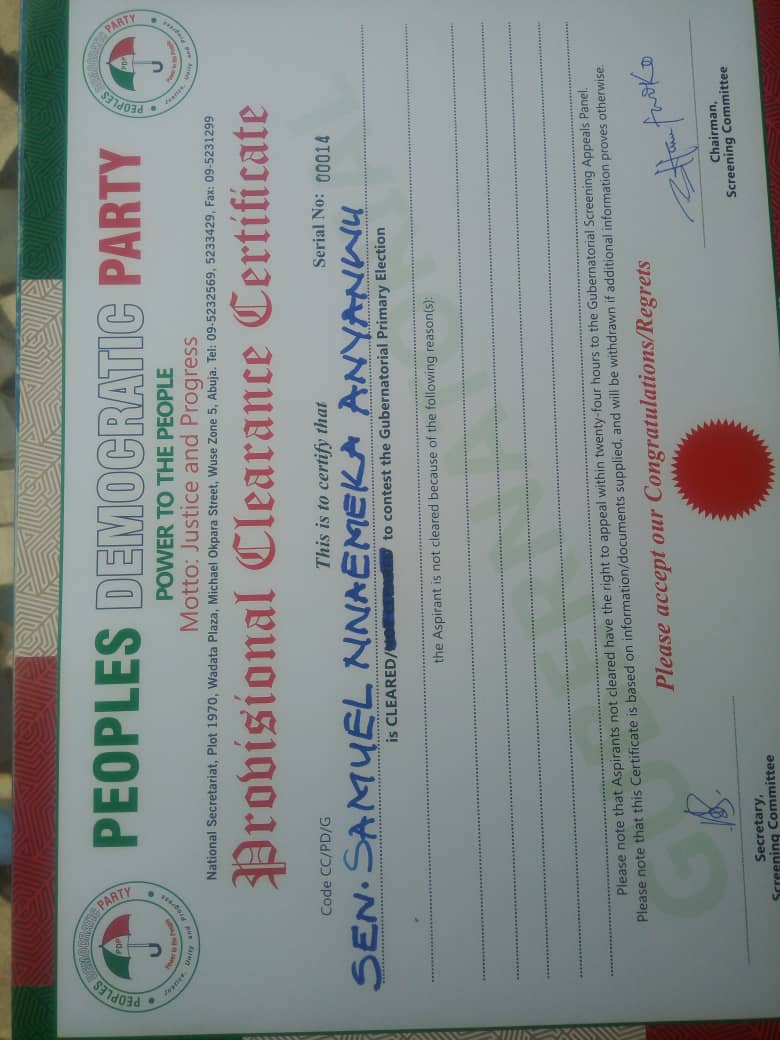 Certificate Of Clearance Divine Mandate Movement