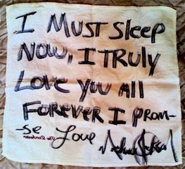Note from Michael Jackson written on a hotel flannel