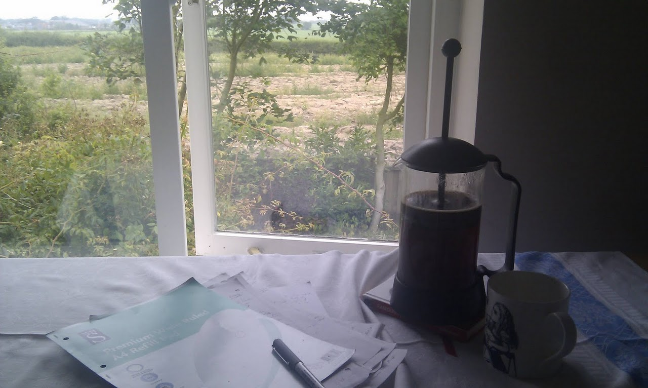 My writing table, a pad, a pen and coffee