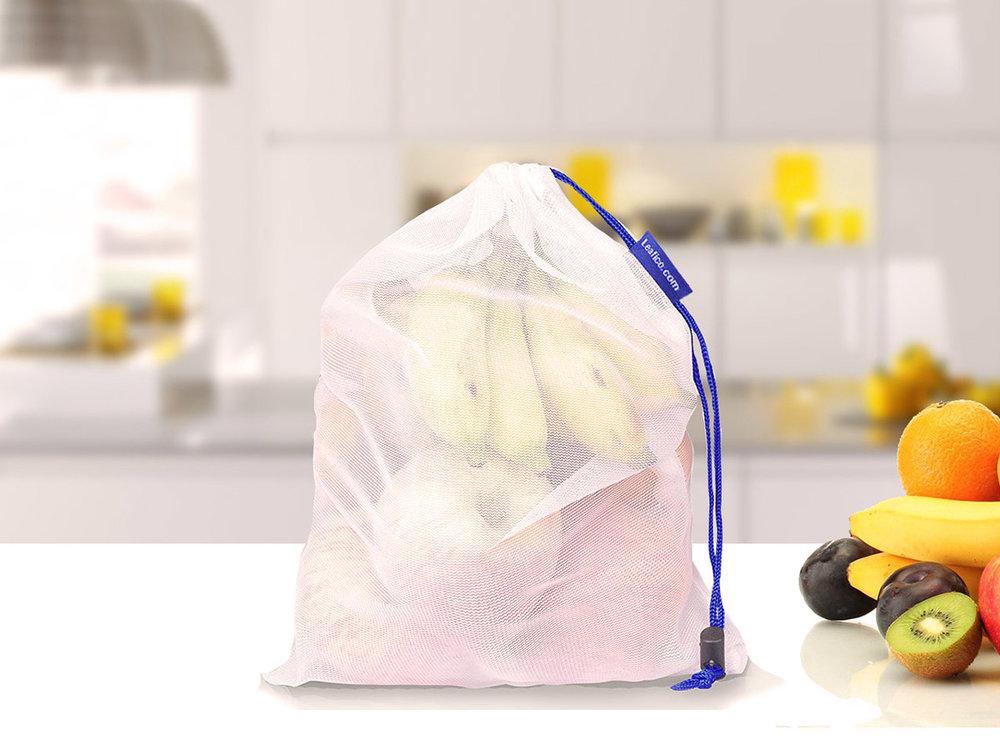Leafico Reusable Mesh Bags - Goes in pack of 9 bags + BONUS