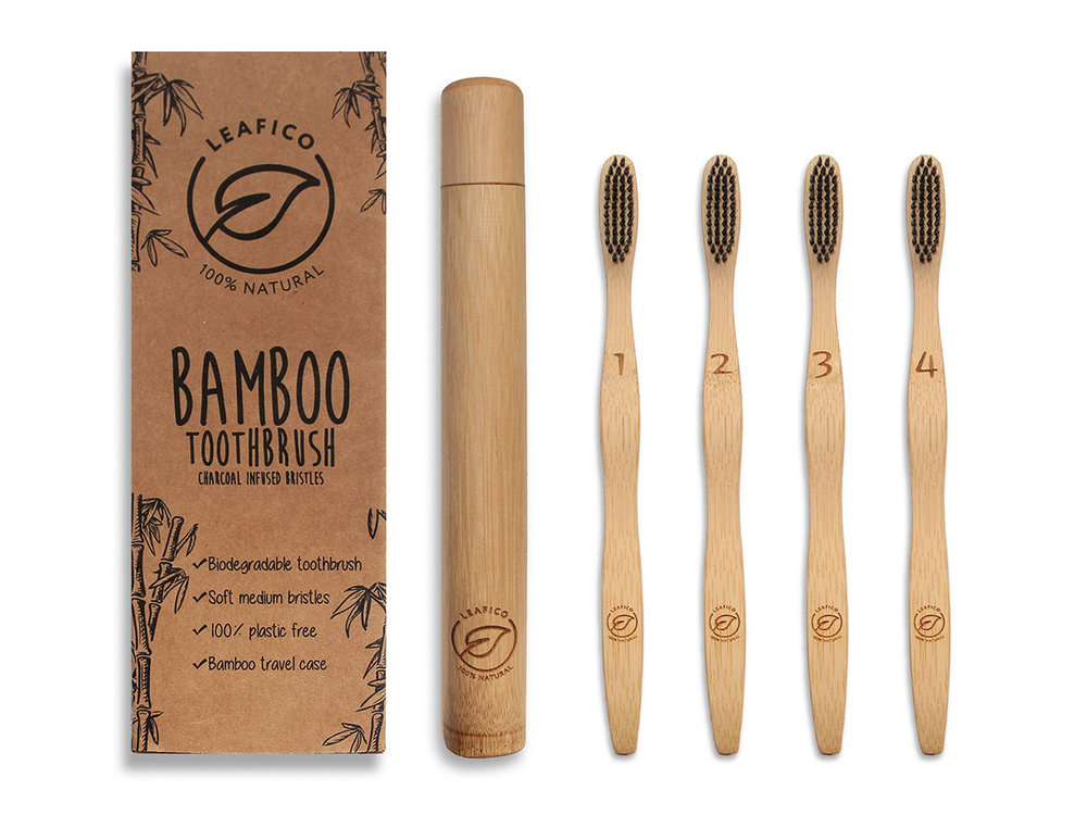 Design - We here at Leafico have designed a recyclable toothbrush that has a tapered front making it just the toothbrush for reaching those back molars giving you those pearly whites for a wonderful smile. The bristles are designed specifically for sensitive teeth and gums. The charcoal infused bristles are for natural whitening and are naturally antibacterial. All this makes Leafico bamboo toothbrush a perfect zero waste gift !