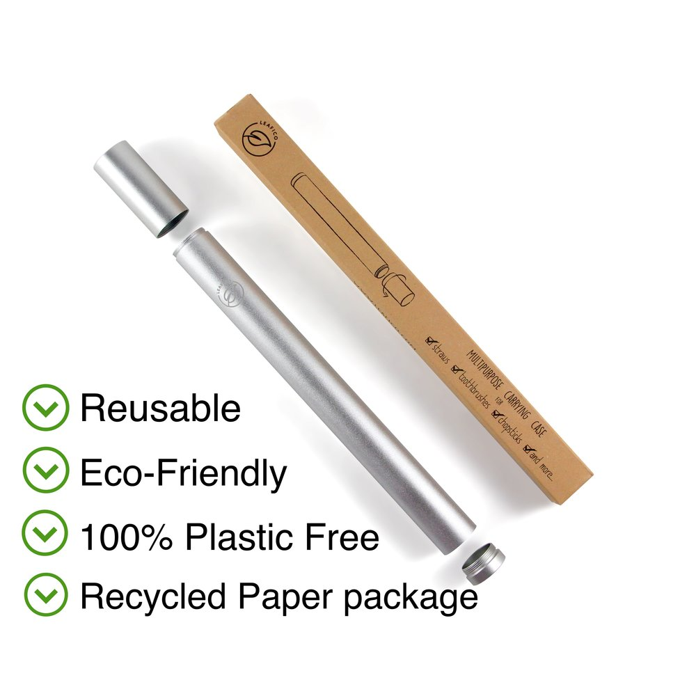 Portable Travel Case ! - Made of 100% Food Grade 18/8 FDA approved stainless steel Leafico metal case makes a perfect storage for your everyday use of straws and toothbrushes