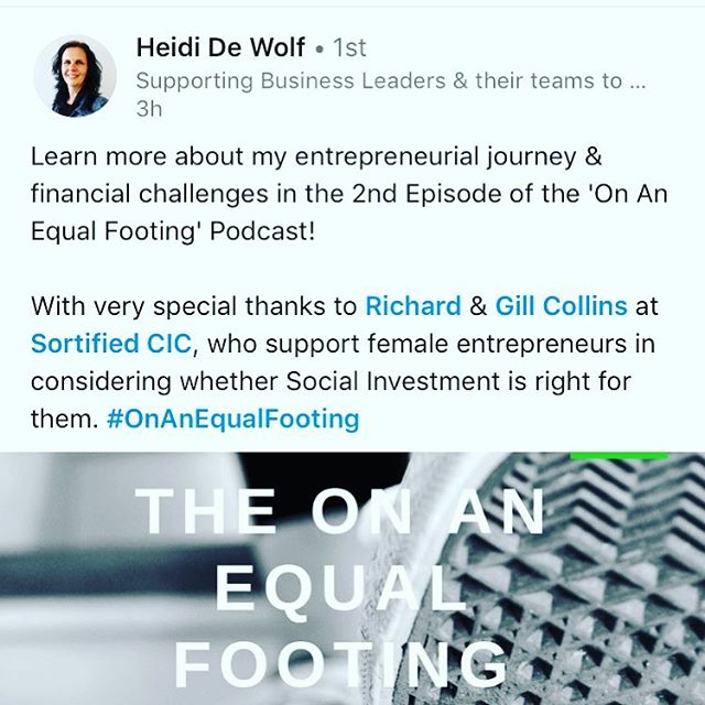 What a great start to Monday morning talking to Heidi about being a #socialentrepreneur in #lincolnshire #womenled #balanceforbetter You can find the podcast on ITunes or https://www.onanequalfooting.com/podcasts/2019/3/25/episode-2-heidi-de-wolf