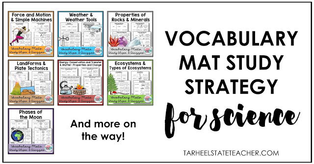 Vocabulary Mat study strategy, activities and ideas for teaching science vocabulary