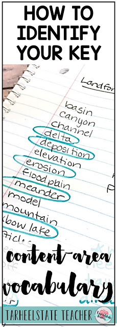 Identifying key vocabulary to teach in our content area and science units can be overwhelming, but we can't let that stop us! Our students need us to set aside instructional time for helping them to master tier 3 vocabulary words. This process makes it SO easy to decide what vocabulary words to spend your limited teaching time on with direct instruction and fun vocabulary activities to help students master those important words.