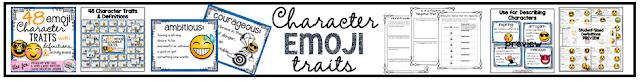 48 character traits emoji theme reading vocabulary
