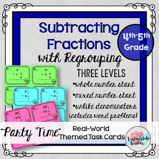 subtracting fractions task cards word problems