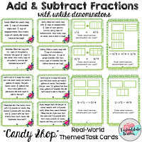 fraction task cards for 4th 5th grade