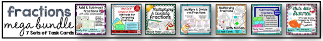 4th 5th grade fractions task cards for fractions mega bundle common core