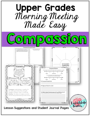 Compassion Themed Morning Meeting Lessons for an Upper Elementary Morning Meeting Routine