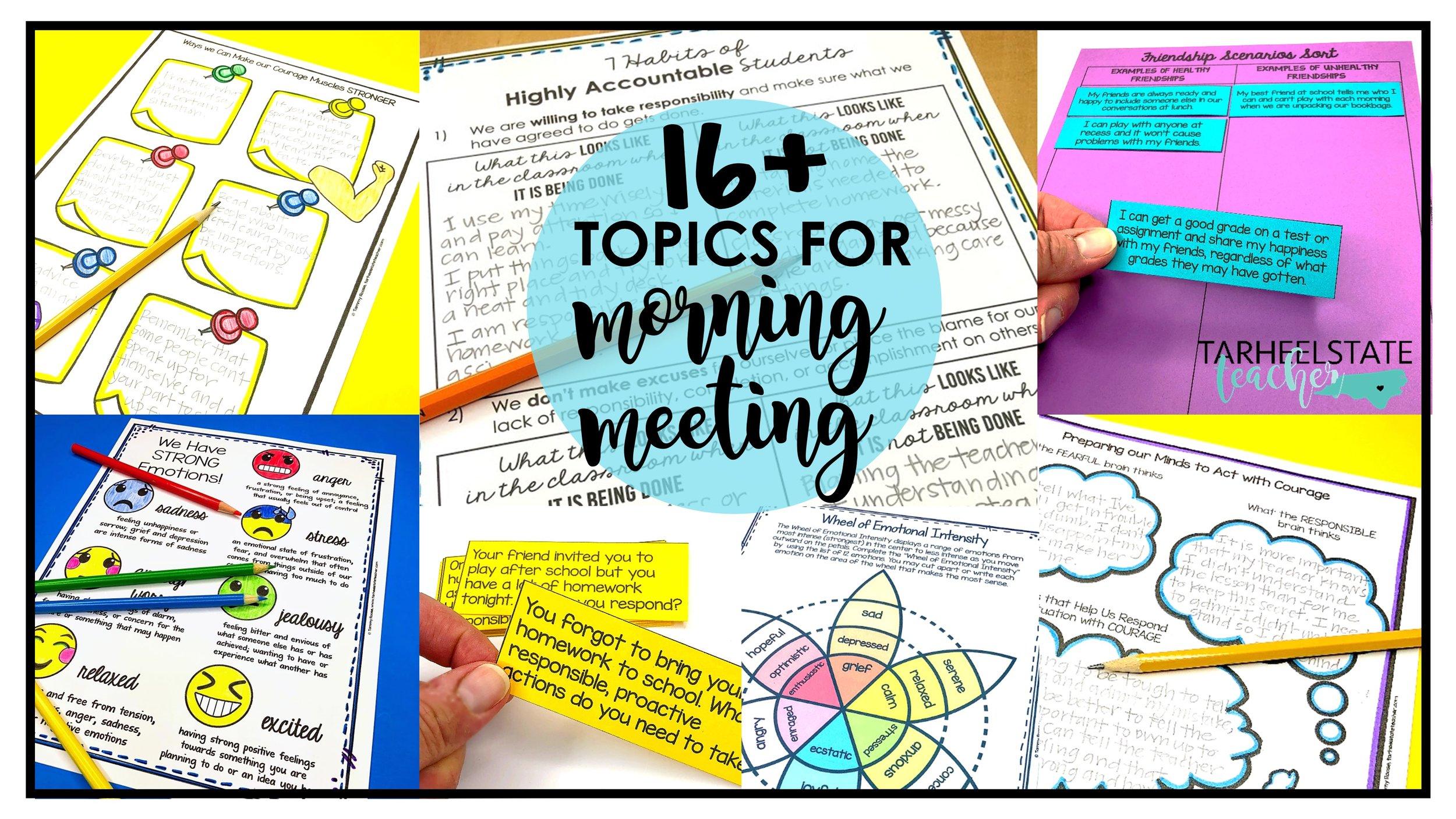 Ideas For Morning Meeting Topics For Upper Elementary Tarheelstate Teacher