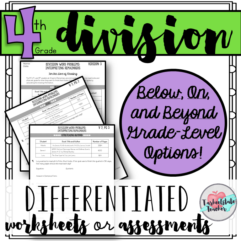 4th Grade Division Differentiated Tests worksheets Assessments.PNG