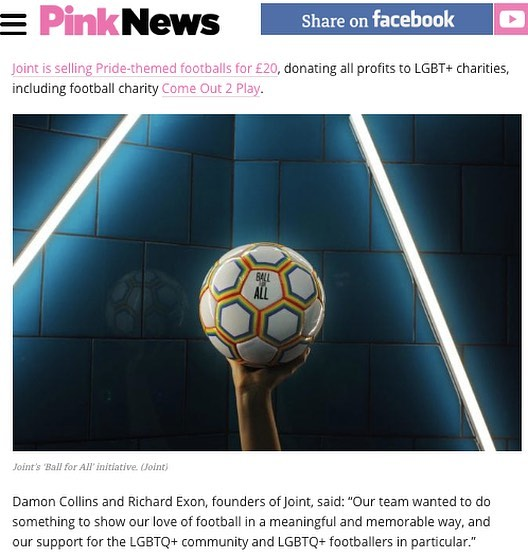 Massive thanks to @pink_news for featuring #ballforall 🏳️🌈⚽️ Let's show the world that football is a game of acceptance, openness and inclusivity.  Read more here: https://bit.ly/2u0KsBP #pride #worldcup #pinknews