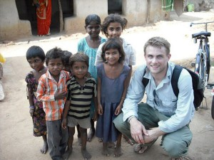 Andy Somerville with children Khajuraho, Madhya Pradesh, India