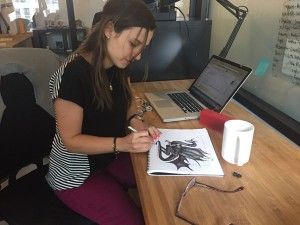 Lia Winograd sketching at the office