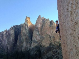 Ginni Chen sport climbing at Smith Rock in Oregon