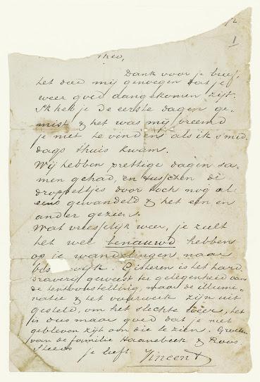 Brieffragment van Vincent aan Theo - bron: Van Gogh museum Amsterdam