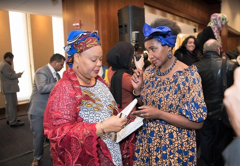 Leymah Gbowee with Rwanda Genocide Survivor.JPG