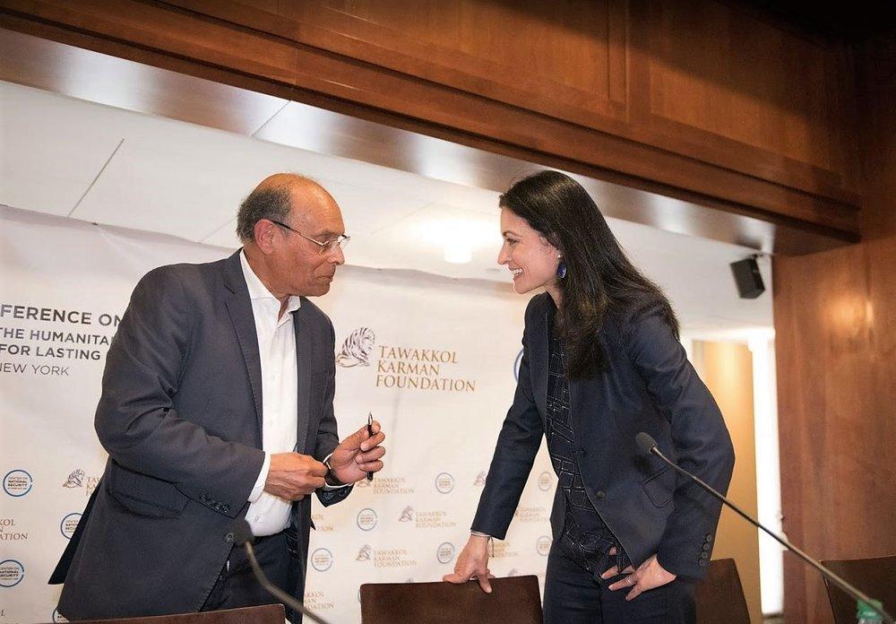 President Marzouki and Ghida Fahkry.JPG