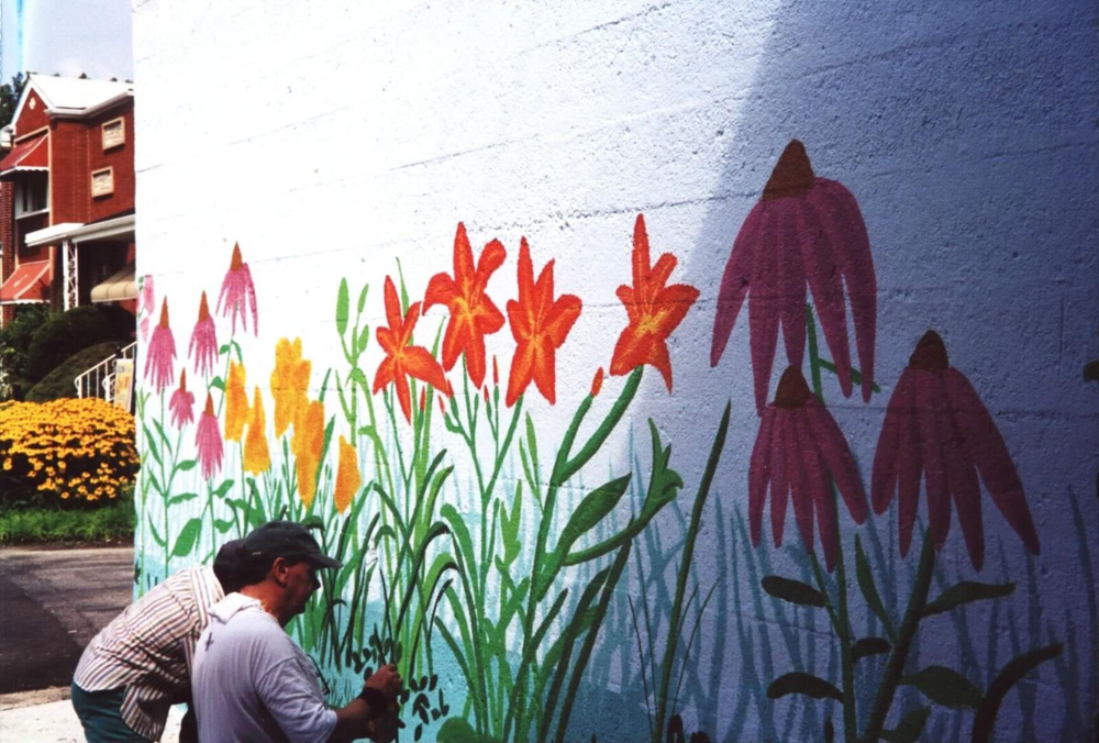 Garden Mural on Metra Overpass, 2001