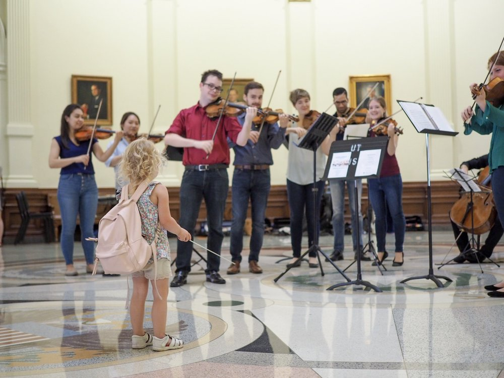 Future conductor at the Capitol Rotunda. May 19, 2018 | Photo by Allison DeFrancesco.