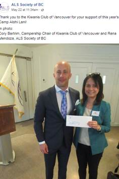 Cory Bartim presenting a campership cheque to Rena Mendoza of the ALS Society.jpg