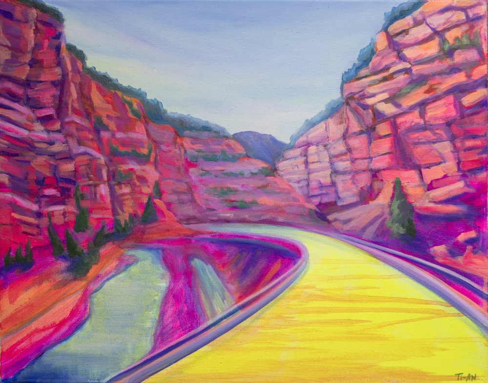 On the I-70 to Glenwood Springs   16x20, oil and acrylic on canvas  2018