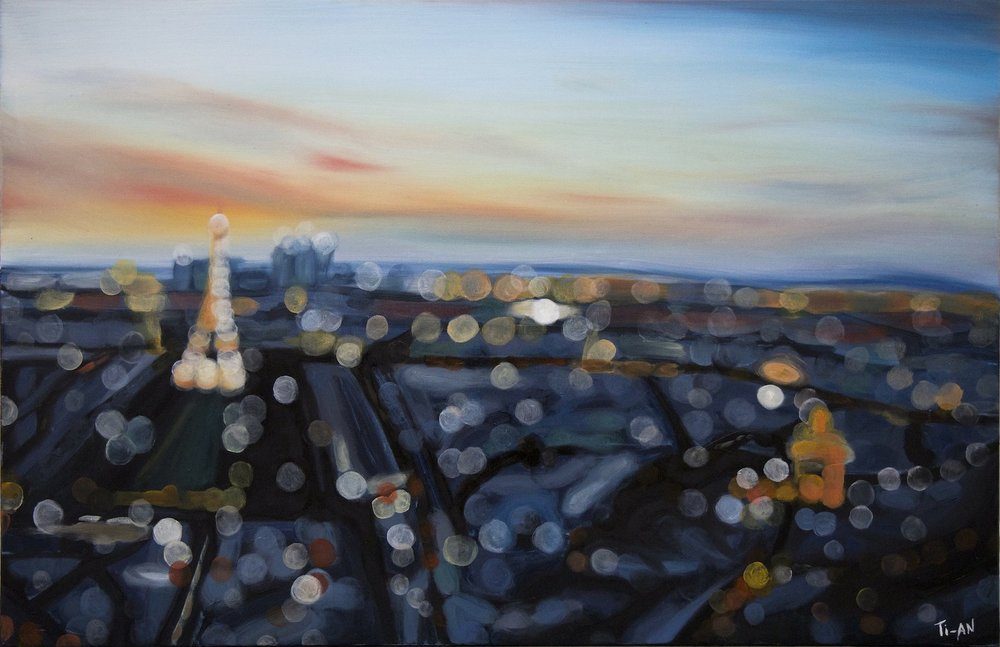 Twilight from the Tour Montparnasse   24x36, oil on canvas   2012