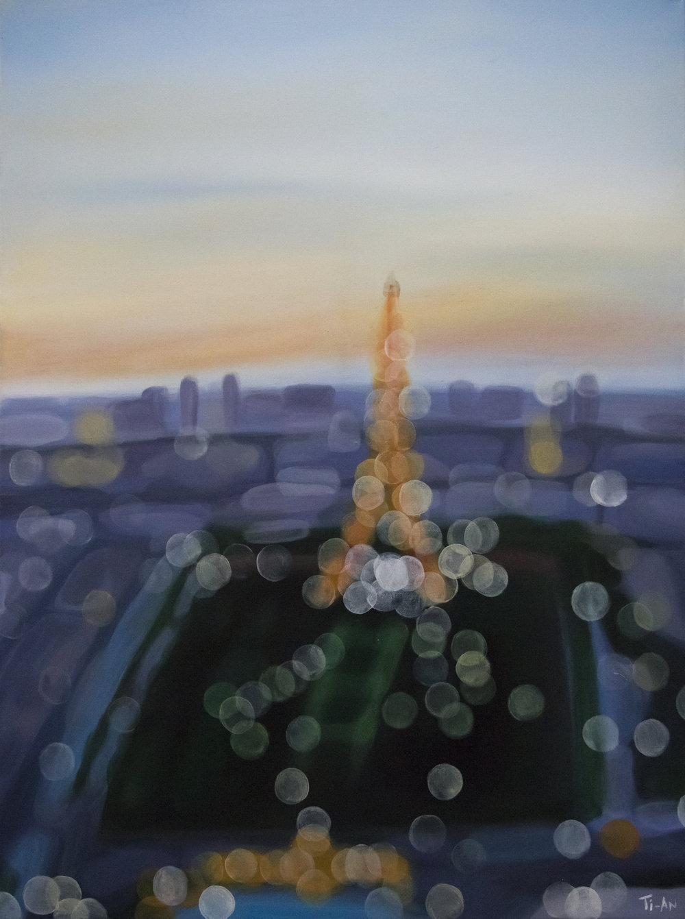 The Eiffel Tower from the Tour Montparnasse   30x40, oil on canvas  2012