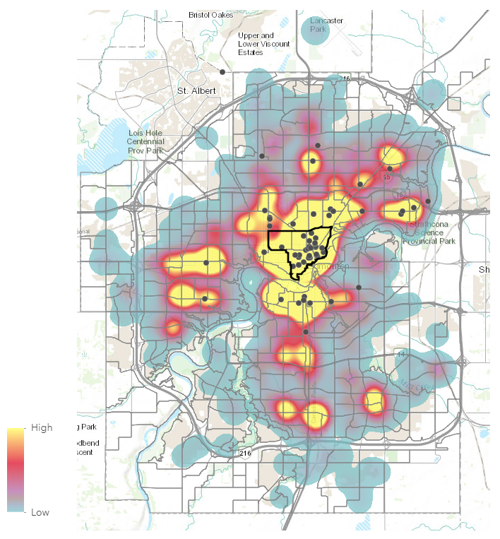 Base Layer:  Reach 24/7 Crisis Diversion Calls, Winter (October 2016 - March 2017)   Data Points:  Locations of Agencies serving homeless/marginalized people (support services, outreach, shelters and transitional housing, food/meals and basic needs)