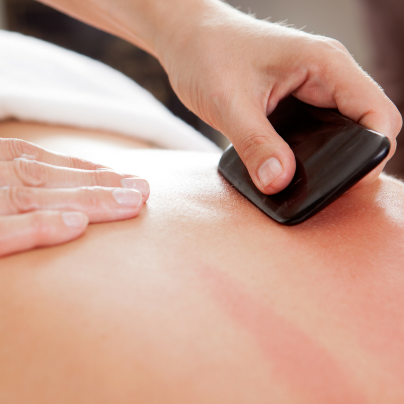 Gua Sha - Gua Sha is a traditional Chinese medical treatment where the skin is scraped. This improves both circulation and chronic pain.
