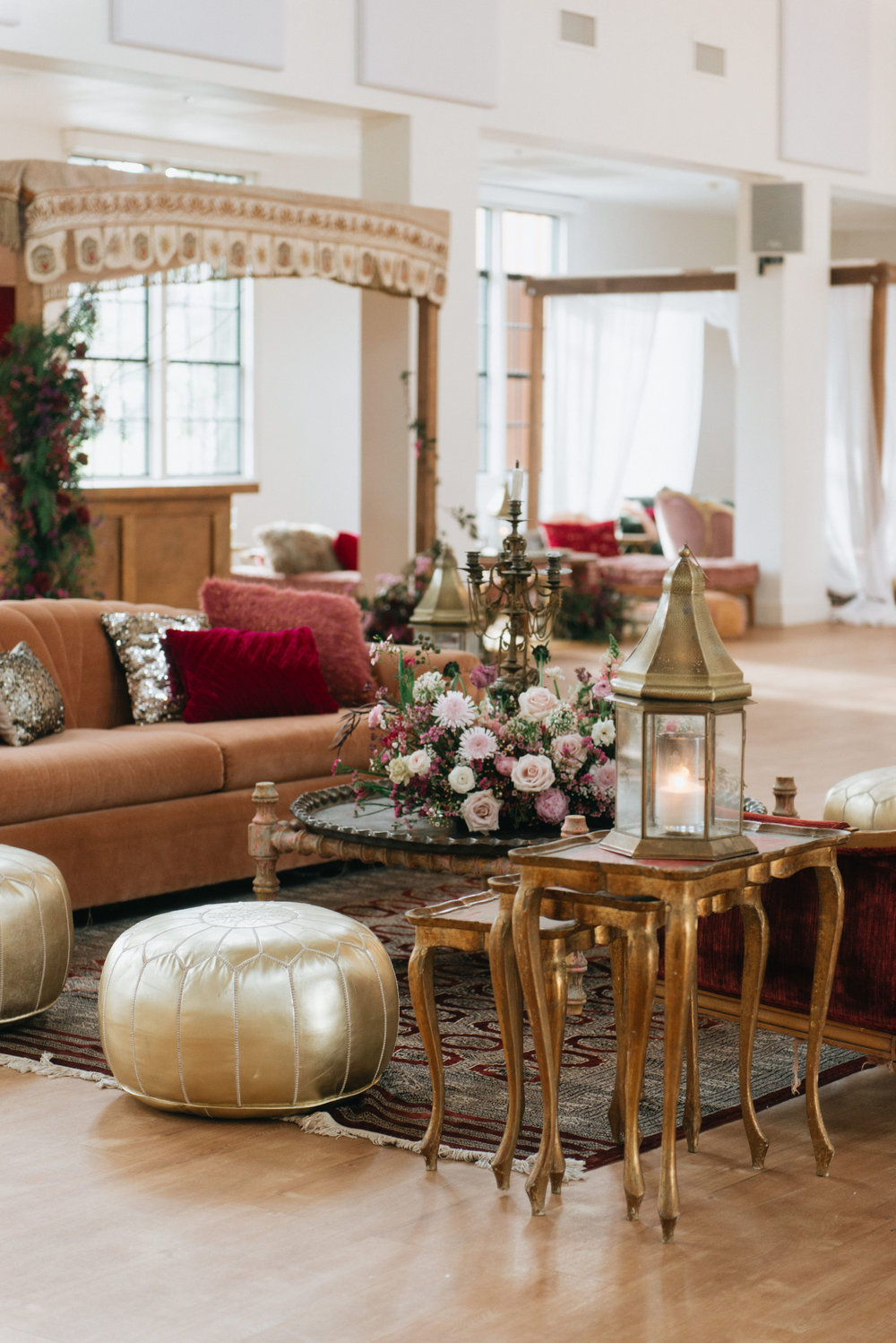 Pow Wow Design Studio lounges and sets transported you to a mythical place. And the mix of vintage golds and deep floral accents made for dream seating.