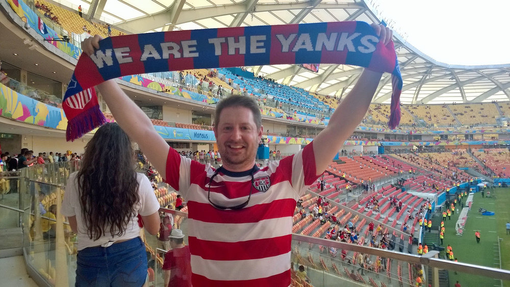 "I'm ready to support ""The Yanks"" from our U.S.A. supporters' section in Arena Amazonia"